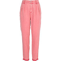 Pink casual peg leg trousers