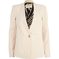 Light pink collarless blazer