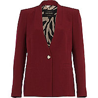 Dark red collarless blazer