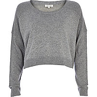 Grey cropped boyfriend jumper