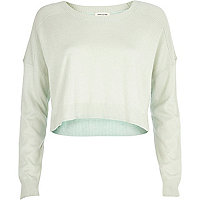 Light green cropped boyfriend jumper