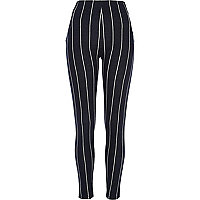Navy pinstripe high waisted leggings