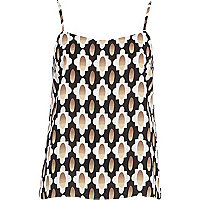 Beige tile print cami top