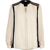 Cream colour block collarless blouse