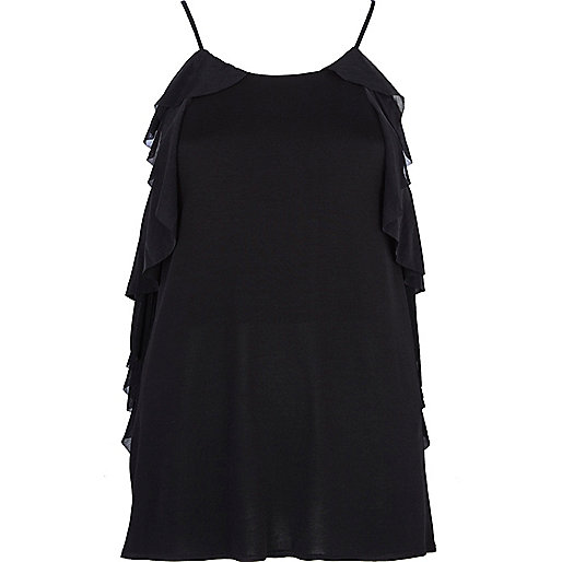 Black frill trim longline cami top