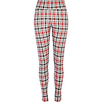 Red check high waisted leggings