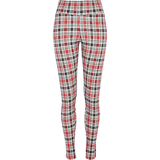 Red check denim-look high waisted leggings