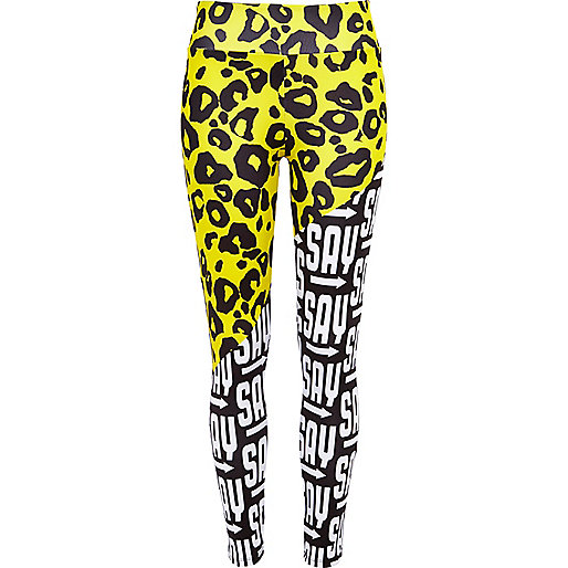 Black spliced leopard print leggings