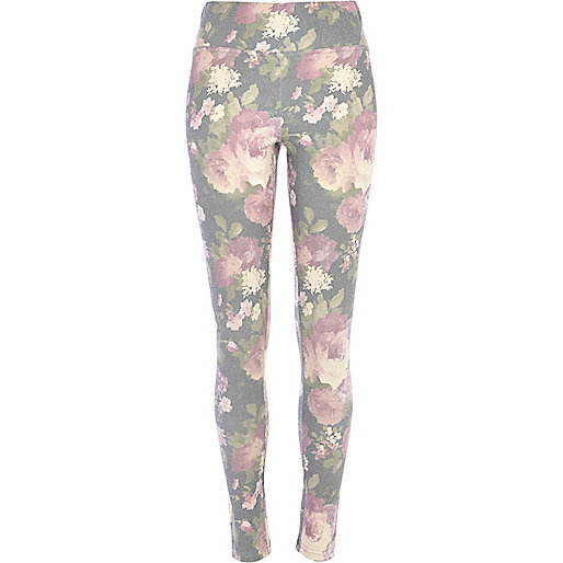 Grey floral denim-look high waisted leggings