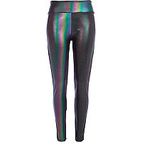 Purple holographic high waisted leggings