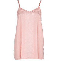 Light coral longline jacquard cami top