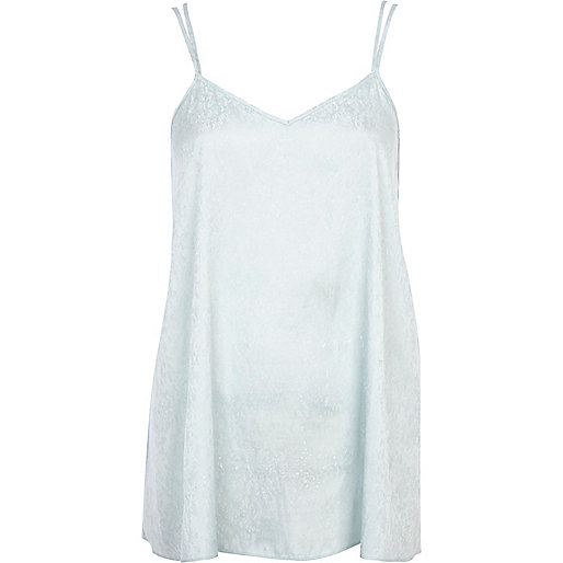 Light blue longline jacquard cami top