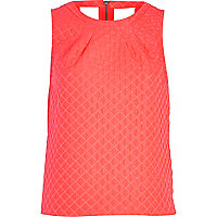 Pink diamond jacquard shell top