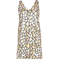 Light pink mosaic sequin shift dress