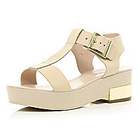 Light pink T bar metal block heel sandals