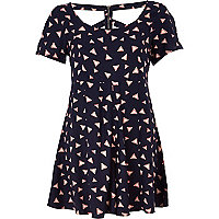 Blue triangle print smart playsuit