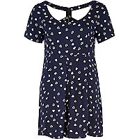 Navy heart print cut out playsuit