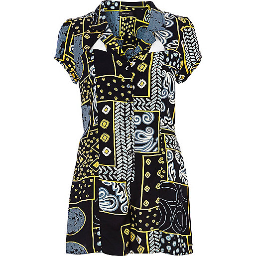 Black mixed print smart playsuit