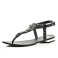 Black gem stone embellished T bar sandals