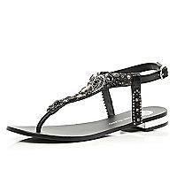 Black gem stone embellished T bar sandals