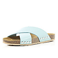 Light blue cross strap mule sandals
