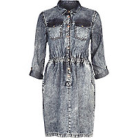 Mid acid wash denim shirt dress