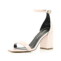Light pink block heel barely there sandals