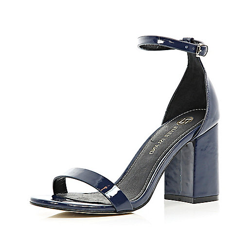 Navy blue block heel barely there sandals