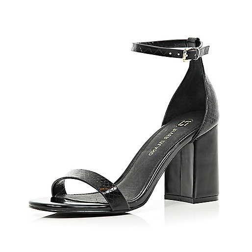 Black croc block heel barely there sandals