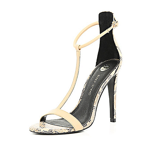 Nude snake T bar barely there sandals