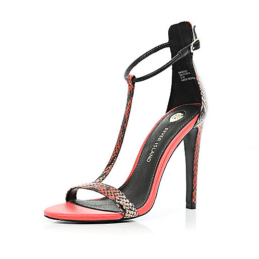 Red snake T bar barely there sandals
