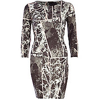 Grey spliced marble print bodycon dress