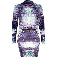 Purple space print velvet bodycon dress