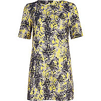Yellow animal print shift dress