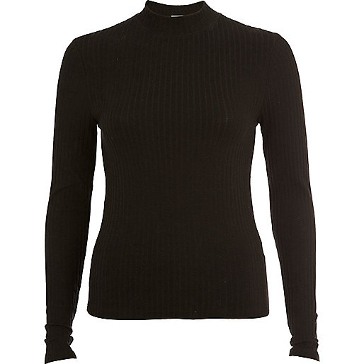 Black chunky rib turtle neck top