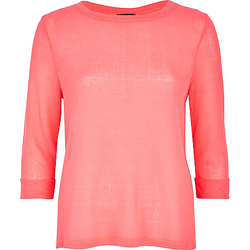 Pink fine knit vent back top