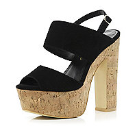 Black chunky cork platform sandals