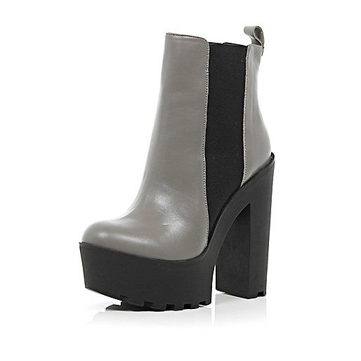 Grey cleated sole extreme platform boots