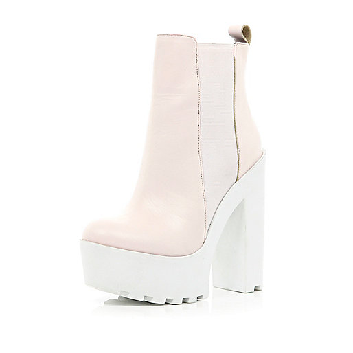 Pink cleated sole extreme platform boots