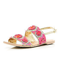 Pink tribal beaded sandals