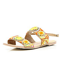 Yellow tribal beaded sandals