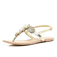 Gold jewel embellished t bar sandals