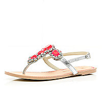 Silver gem stone embellished T bar sandals
