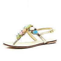Pink jewel embellished T bar sandals