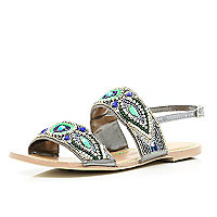 Green tribal beaded sandals