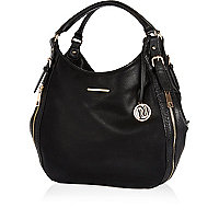 Black zip side slouch bag