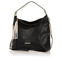 Black tassel trim slouch bag