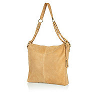Beige leather chain strap slouch bag