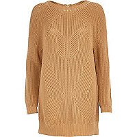 Brown geometric rib studded jumper dress