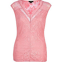 Pink lace cap sleeve top